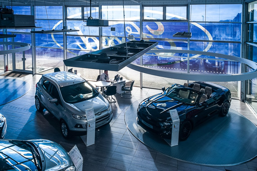 Aerial view of FordStore Hastings showroom Car sales franchise photography